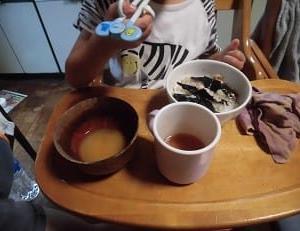 麦飯海苔ご飯定食と台風19号