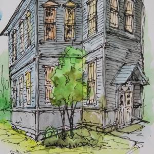 南湖院の病棟を描く
