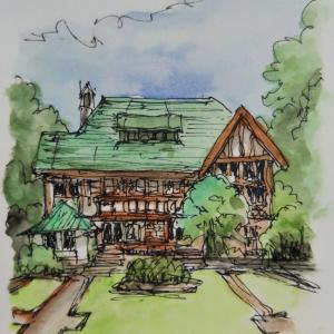 邸宅と庭を描く