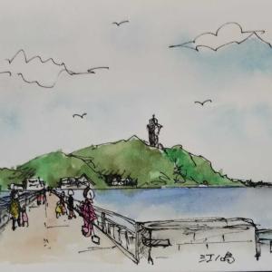 もう1枚江の島を描く