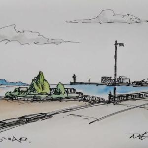 江の島の入り口で描く