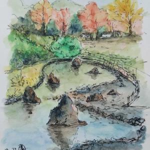 里山公園で描く