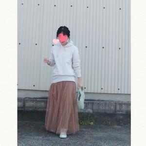 今日のコーデ♡ユニクロパーカー×ロングスカートの楽チンコーデ