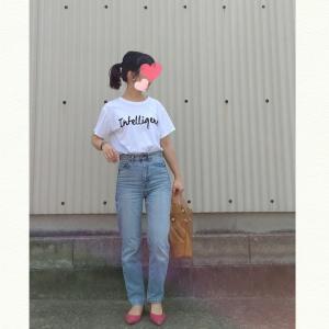 今日のコーデ☆Tシャツ×デニムにカラーパンプス