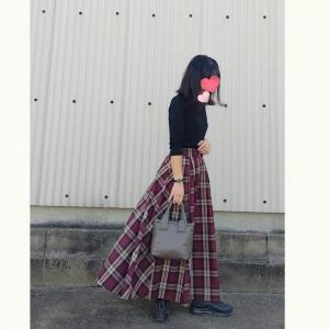 今日のコーデ★秋チェックのフレアスカートコーデ
