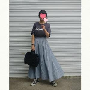 今日のコーデ☆ロゴT×フレアスカートの秋コーデ