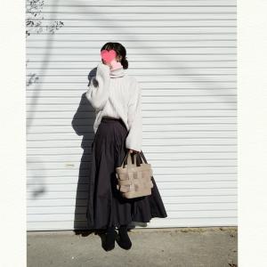 今日のコーデ♬お気に入りスカートとH&Mニットコーデ
