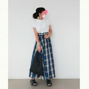 今日のコーデ♬cocaチェック柄スカートでワンツーコーデ