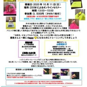ハズトレ実践クラス【タオルトレーニング】(オンライン)10月11日残席わずか!/10月14日