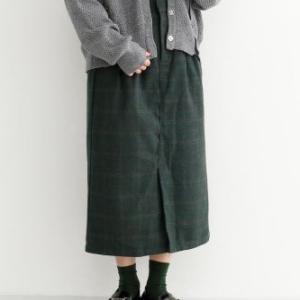 merlotで買った物☆チェック柄フロントベンツスカート☆ようやく冬支度