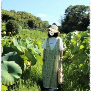 着画☆Green ParksのロゴTとSM2の花柄ワンピ☆蓮の公園
