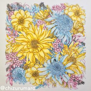 葉っぱもお花に見立てて同じ色で塗ってみた(レイラ・デュリーさん/FLORIBUNDA)