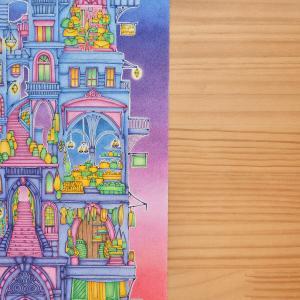 【マジカルタワー・その10】背景を色鉛筆でマジックアワー風にグラデーションで塗ってみた