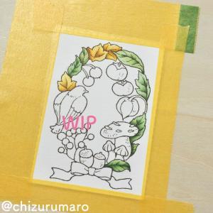 (前編)水彩色鉛筆と水筆ペンで「森の少女の物語」のカードを塗ってみた