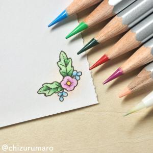 水彩色鉛筆で塗ったカードの裏面、水筆で塗っても大丈夫?実験してみました