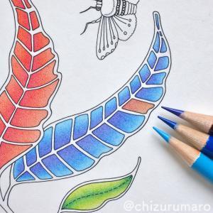 リベンジ塗り11 色鉛筆3色で葉っぱを紫色から水色へグラデーション