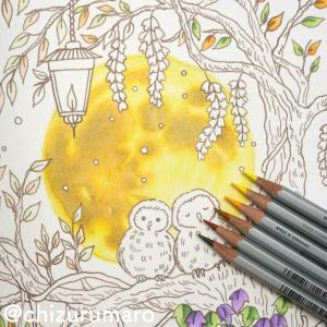 ④水彩色鉛筆で背景に月を描いてみた(ハロウィン風塗り絵)