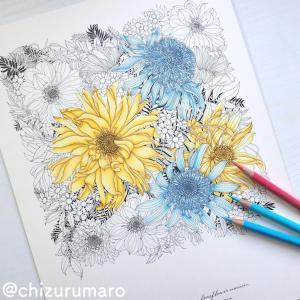 (水色編)色鉛筆3色で影を作ってお花を塗ってみた(レイラ・デュリーさん/FLORIBUNDA)