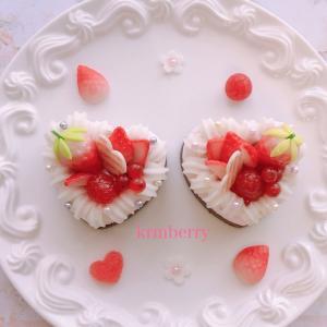 可愛いハートのベリームースケーキができました!