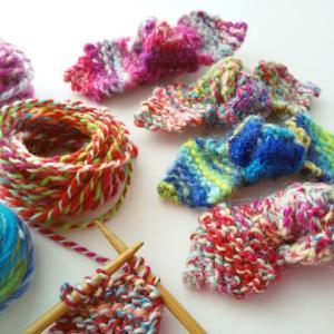手紡ぎ糸のリボンヘアゴム