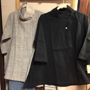 ○ うさとの服 生成りコート レディース 藍染め 黒コート
