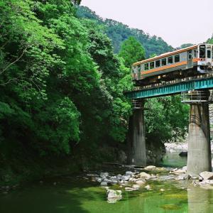 名松線 新緑の鉄橋を渡る