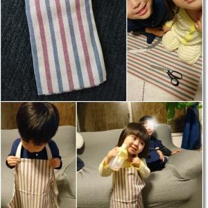 【ハンドメイド】ダイソーの布で王子のエプロン&三角巾作り!と姫のゴティトーサマ!