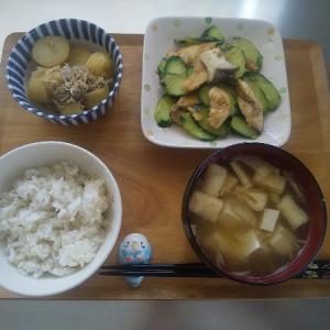 鶏肉とキュウリの炒め物の昼食