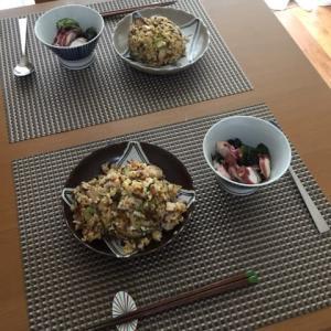 今日の一品 五目炒飯とタコ酢