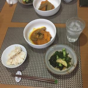 今日の一品 カボチャの煮物と夏野菜の酢の物