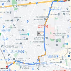 六本木通りから恵比寿西口 渋谷橋手前渋滞の場合