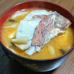 鯛の味噌汁つくりました