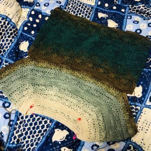 衿ぐりから編むベスト♪
