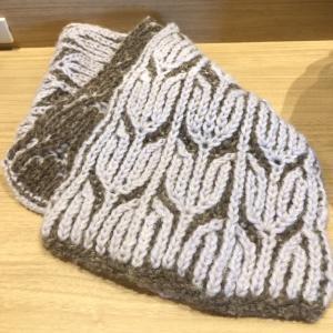 ブリオッシュ編みのマフラー 完成。