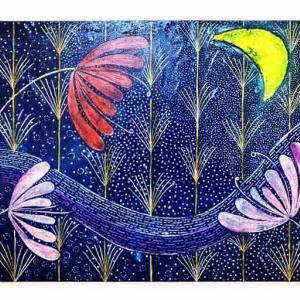 スクラッチ画…月の花