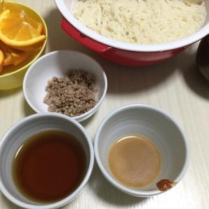 昨日の夕食は〜素麺&天ぷら♪