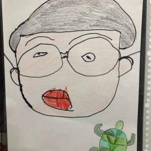 姪っ子が描いてくれた僕の似顔絵(・∀・ )