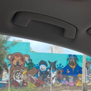 ローカル地区にある、犬いっぱいの、巨大壁画を、ご紹介。