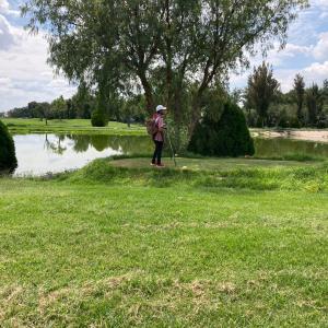 本日のゴルフ…池越えならず。私の前では、境界線を守る、チビ。