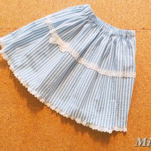 型紙無しの直裁ちでギャザースカートを作る。