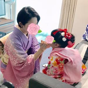 3歳さんヘアメイク着付  ママ様訪問着着付