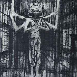もうひとつの阿修羅像   杉本健吉展  木炭 コンテ