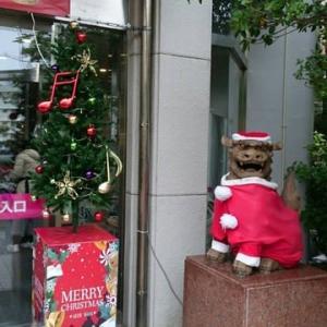 シーサーもクリスマスの装い