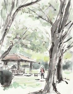 公園でスケッチ会