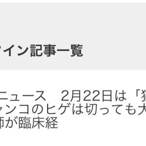 ■祝 人気記事ランクイン Yahooニュース 2月22日は「猫の日」ニャンコのヒゲを切っても大丈