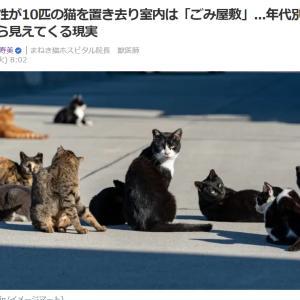 ■Yahooニュース 年配女性が10匹の猫を置き去り室内は「ごみ屋敷」...年代別の飼育意向から