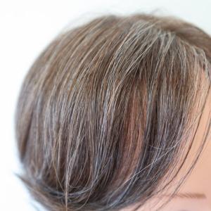 70代女性白髪ミックスウィッグ!何色も混ぜて自然に☆後頭部の毛割れの心配もなし☆