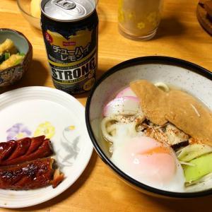 【男飯】牡蠣・温泉卵・お揚げうどん、鯖のみりん干し、ほうれん草と小松菜のおひたし