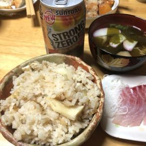 筍ご飯、桜鯛と〆鯖のお刺身、かぼちゃの甘煮