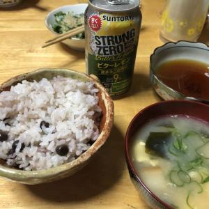 ツタンカーメン豆ごはん、タラの芽の天ぷら、タラの芽の胡麻和え